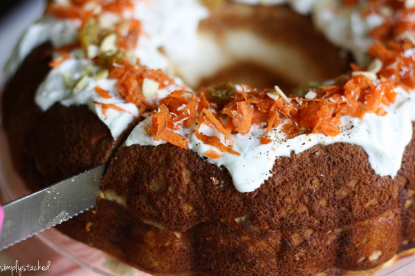 Carrot Cake Bundt Cake - Super moist & fluffy carrot cake stuffed with a cream cheese filling. Grain & Gluten Free #carrotcake#glutenfree |Adoubledose.com