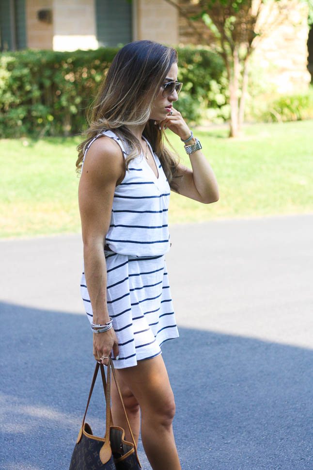 Nautical Striped Dress - Easy, flow dress that can be paired with some flats or converse for a casual weekend look | adoubledose.com