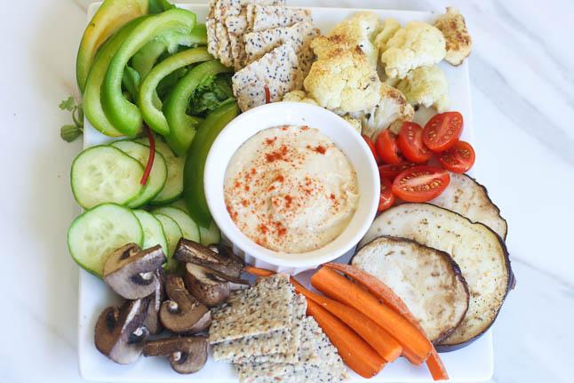 Mediterranean Mezza Plate- veggie crudites, homemade hummus, and crisp Paleo crackers |adoubledose.com