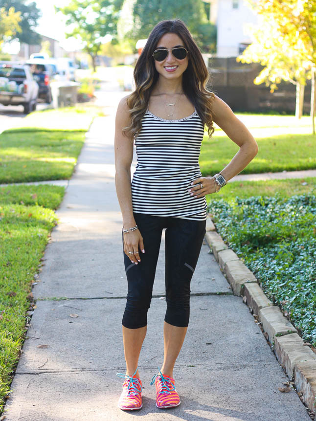 Black + White Striped Tank - the perfect tank to jazz up your workout | adoubledose.com