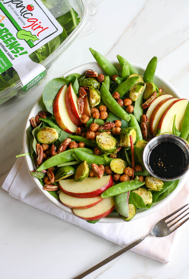 Crisp + Crunchy Winter Salad with Crisp Snap Peas, Fresh Apples, and Roasted Brussels Sprouts|adoubledose.com