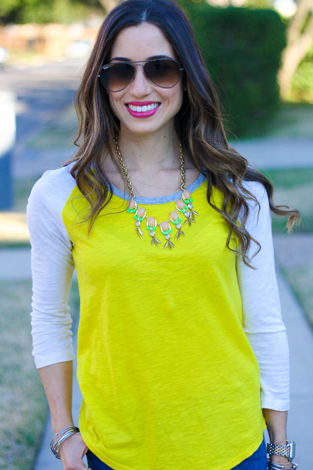 Yellow Baseball Tee - love this comfy tee with a statement necklace and ripped jeans for a casual weekend look | adoubledose.com