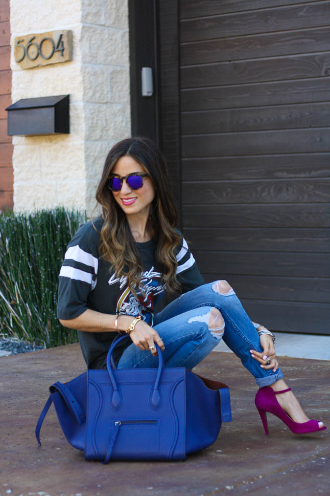 Pop of Blue - the perfect pop of blue to add to any outfit featuring a gorgeous Celine bag |adoubledose.com