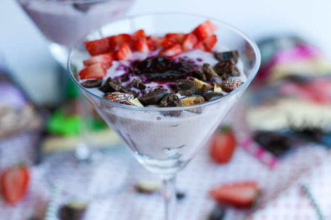 Berry + Chocolate Yogurt Parfait - this parfait is the perfect post workout snack that is packed with protein, fresh fruit, on antioxidants | adoubledose.com