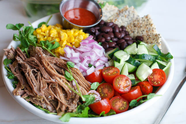 Southwestern Chopped Salad with Crockpot Beef - this mexican-inspired salad is loaded with protein, fresh veggies, and fiber | adoubledose.com