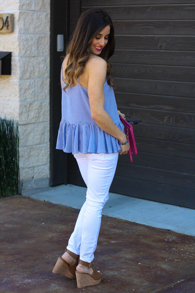 Gingham Peplum- the perfect gingham peplum top that is under $18 and perfect for spring | adoubledose.com