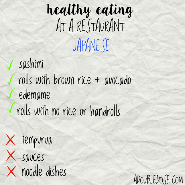 Eating Healthy at a Restaurant- our tips for eating healthier at a restaurant | adoubledose.com