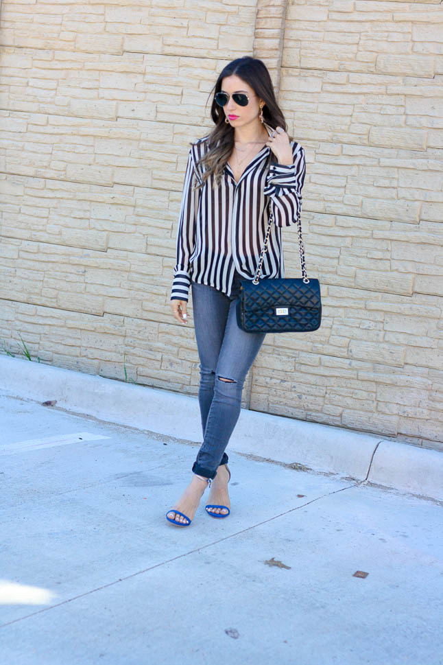 Stripe It Out - a classic black and white striped blouse paired with grey jeans for a classic and simple spring look | adoubledose.com