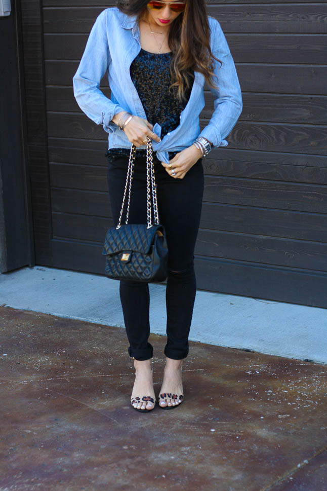 Sequin Tank - this black sequin tank can be dressed up or down. We love it paired with chambray and leopard heels | adoubledose.com