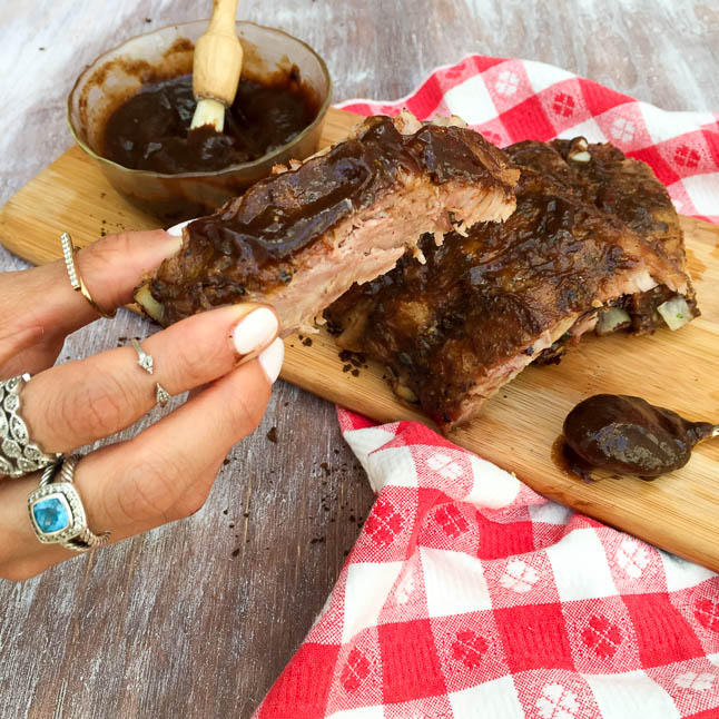 Coffee and Honey Barbecue Ribs with KC Masterpiece | adoubledose.com