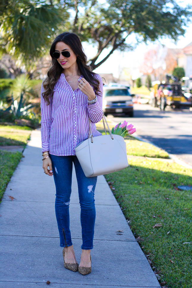 Purple Striped Shirt - the perfect spring button up paired with leopard heels and ripped jeans | adoubledose.com