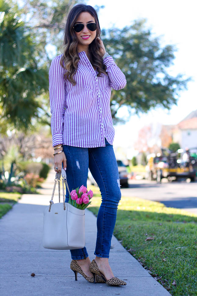 Purple Striped Shirt - the perfect spring button up paired with leopard heels and ripped jeans   adoubledose.com