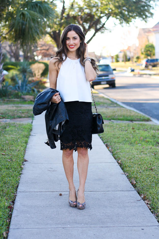 Black Lace Skirt - the perfect skirt for work or a spring or summer wedding | adoubledose.com