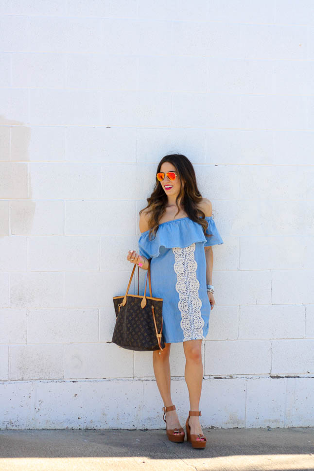 Off The Shoulder Dress - our favorite dress for spring/summer! Shows of the most flattering part of your body and so fun and flirty! | adoubledose.com