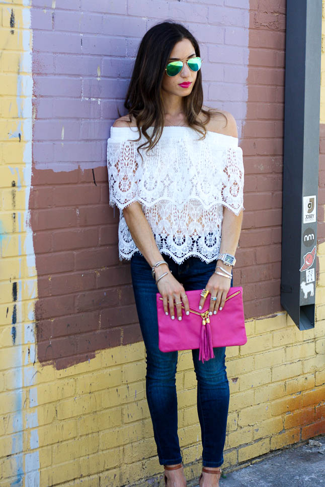Lace Off The Shoulder - the cutest flirty spring off-the-shoulder top that is under $16 | adoubledose.com