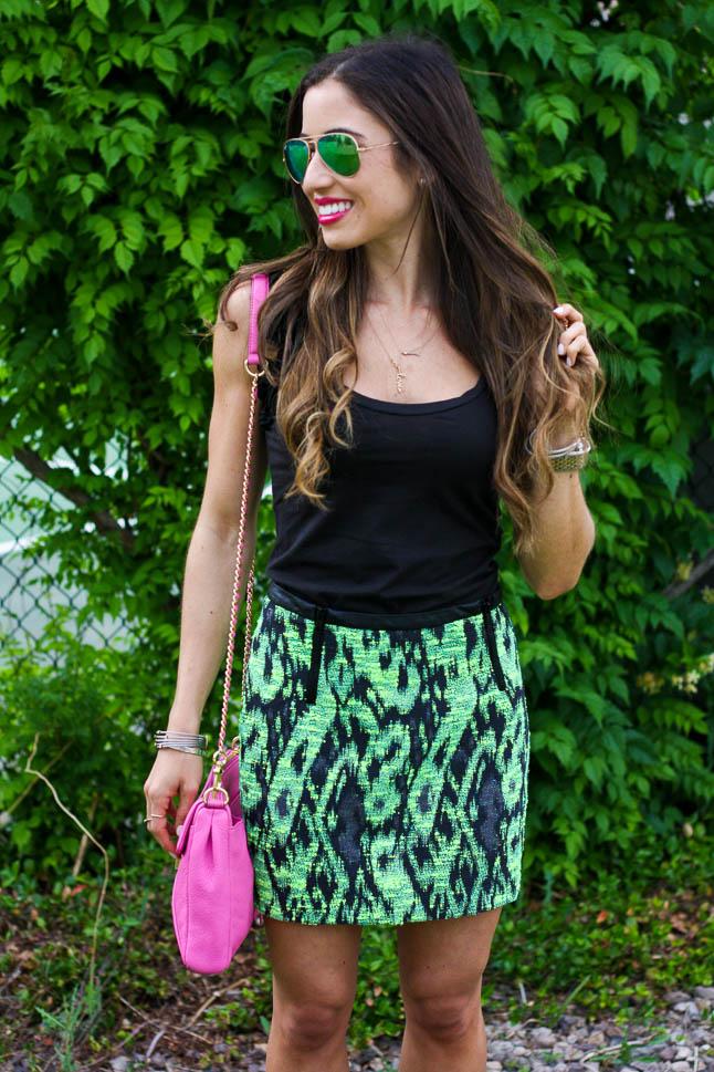 Green Printed Mini Skirt   adoubledose.com