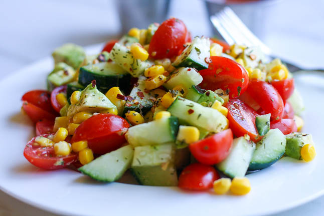 Tomato, Corn, and Avocado Salad | adoubledose.com
