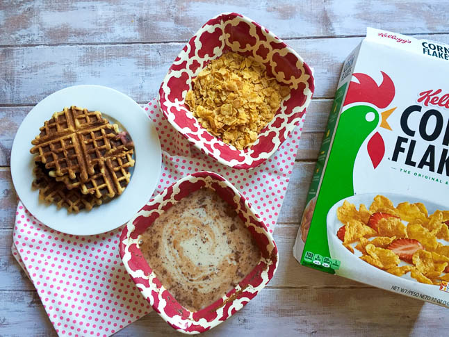 Corn Flake Coated Waffle French Toast - a creative take on a classic breakfast dish that is crispy, light, and perfect for weekend brunch | adoubledose.com