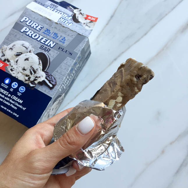 Cookies N Cream Chocolate Loaf with Pure Protein Plus Bars | adoubledose.com