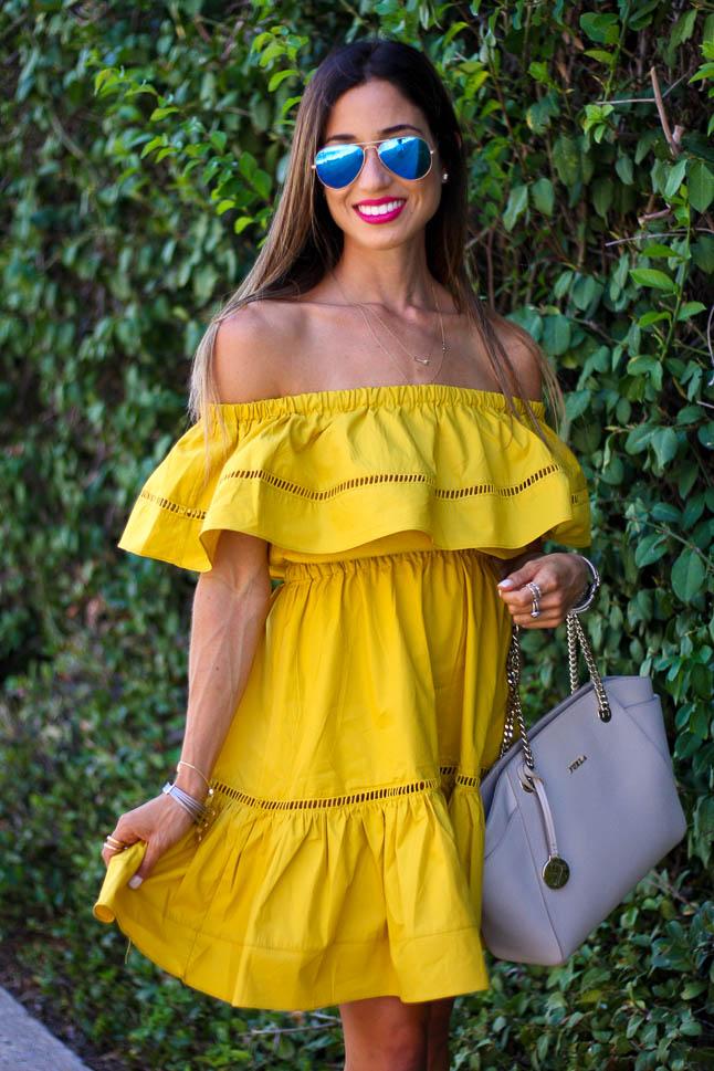 Yellow OTS Dress | adoubledose.com