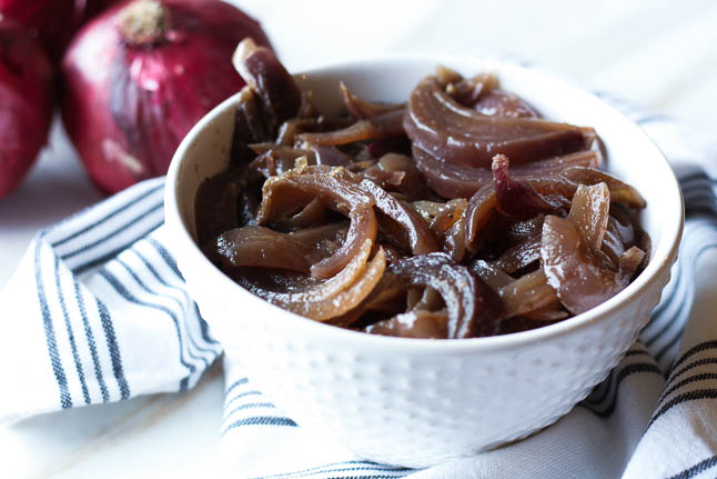 Crockpot Onions - a super easy way to prepare balsamic onions that are a great side dish! | adoubledose.com