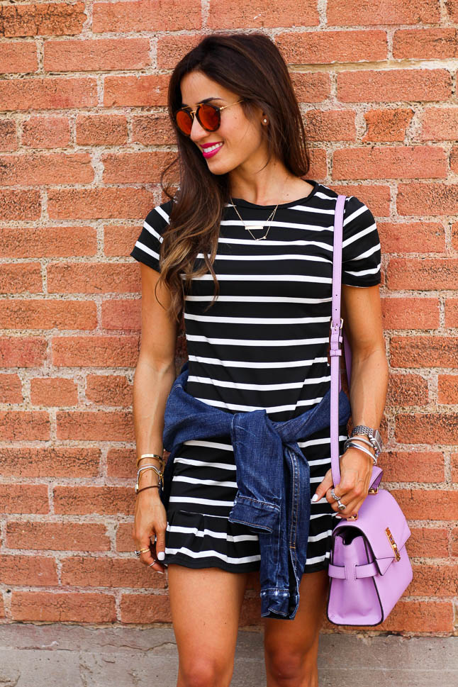 Striped Ruffle Dress   adoubledose.com