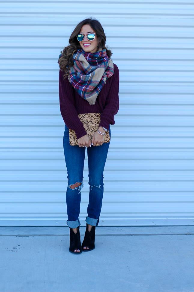 Wine Cowl Neck Sweater | adoubledose.com