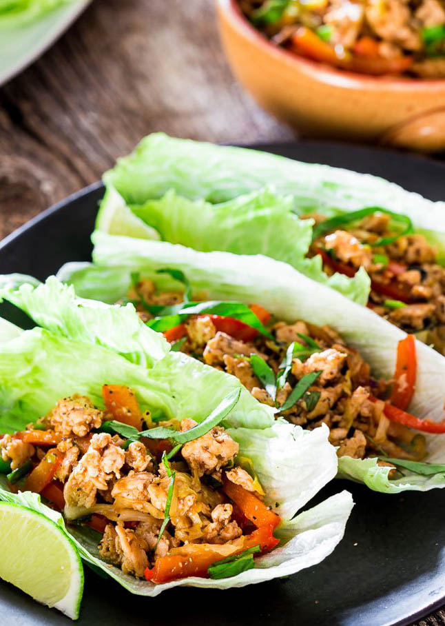 Thai Chicken Lettuce Wraps - A Double Dose of Fitness | adoubledose.com