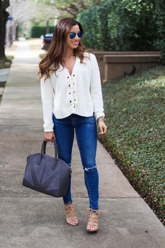 Cream Lace Up Sweater | adoubledose.com