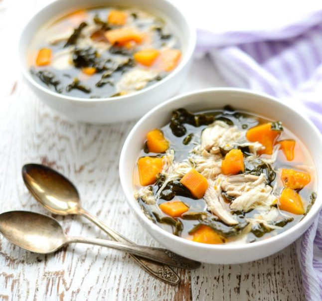 Slow Cooker Chicken, Kale, and Sweet Potato Stew - Double Dose of Fitness | adoubledose.com