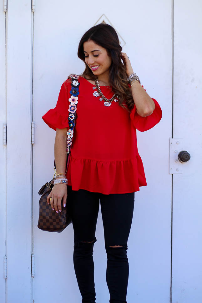 Red Peplum Top Under $30 | adoubledose.com