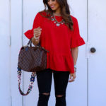Red Peplum Top Under $30