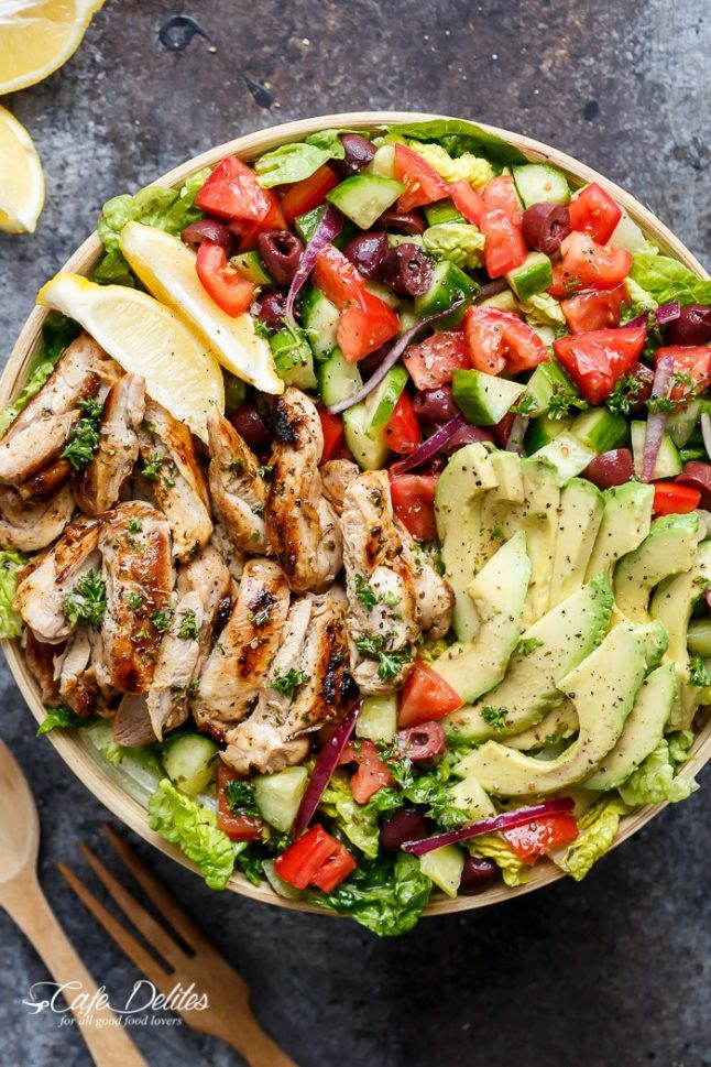 Lemon-Herb-Mediterranean-Chicken-Salad - A Double Dose Of Fitness | adoubledose.com