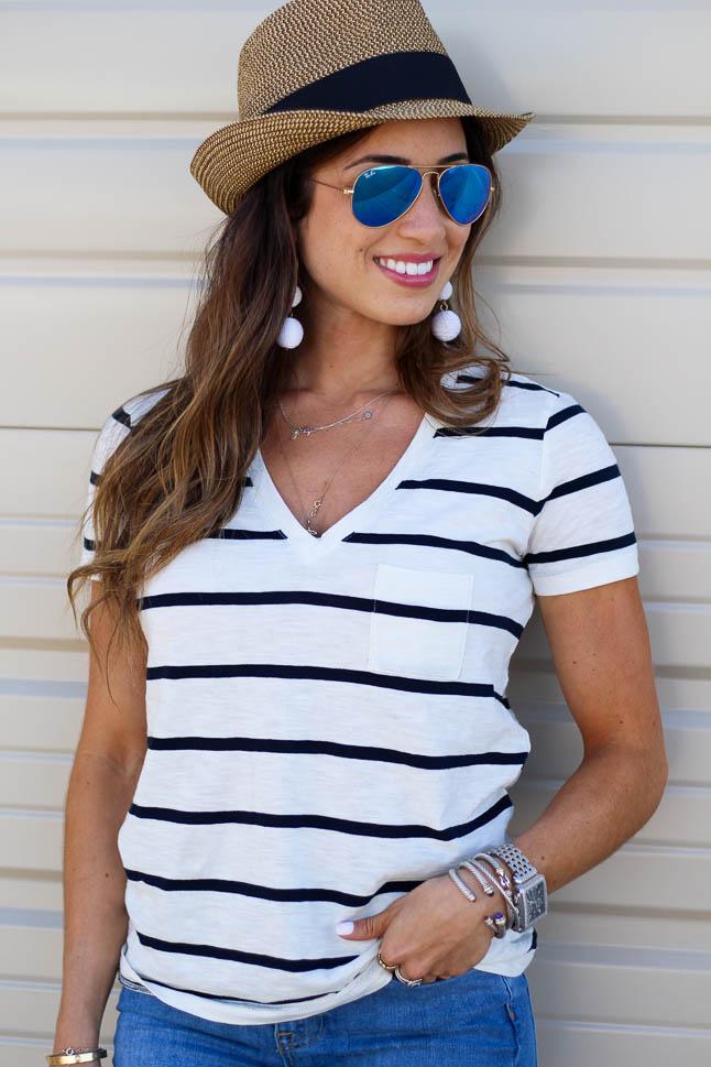 Striped V-Neck for $25 | adoubledose.com