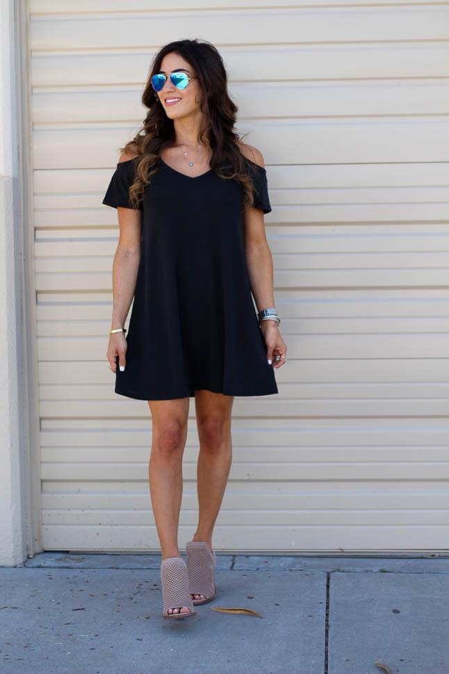 Cold Shoulder Swing Dress | adoubledose.com