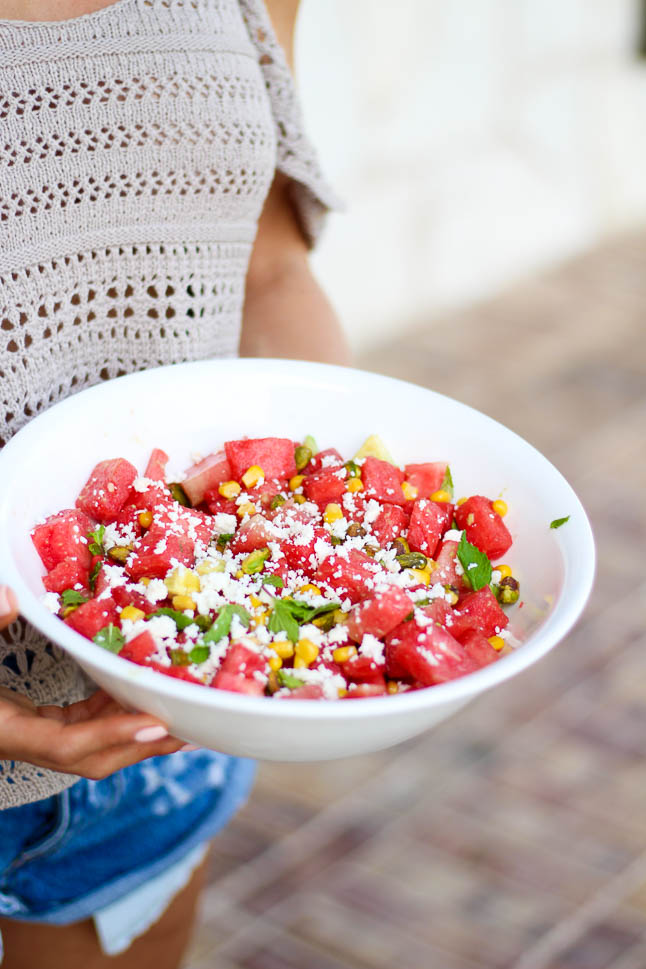 Summer Watermelon Pistachio + Mint Salad